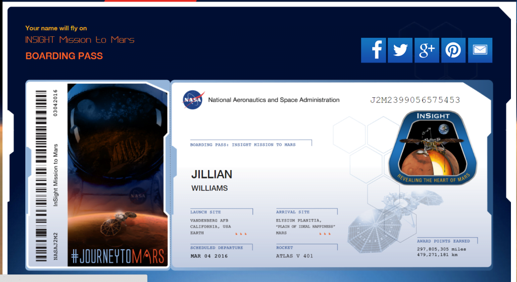 Send Your Name to Mars Insight Boarding Pass