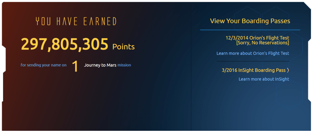 Send Your Name to Mars frequent flyer total points and menu