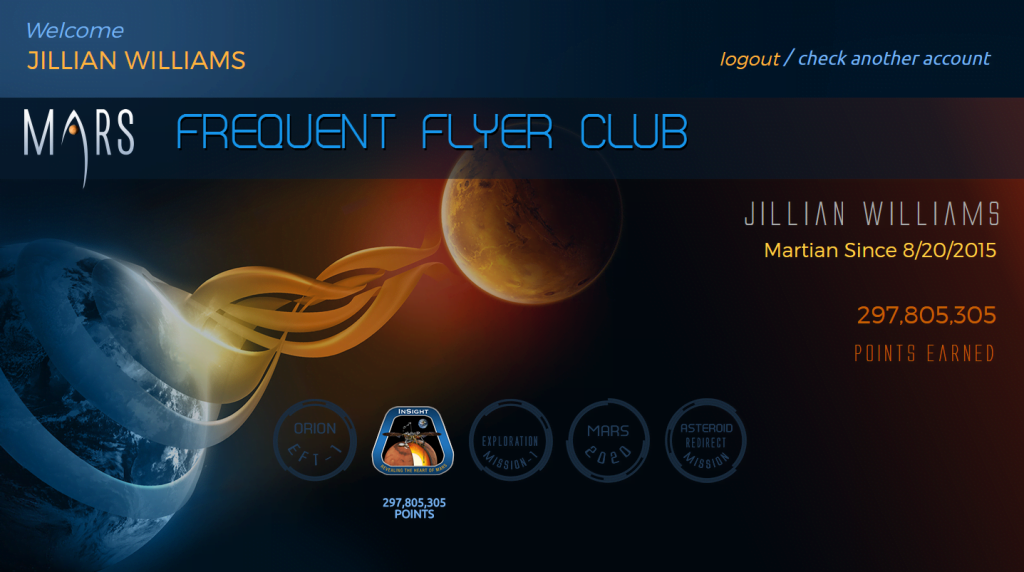 Send Your Name to Mars logged into frequent flyer club and my total points