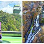 Cairns Skyrail Rainforest Cableway glass bottom ride over waterfall