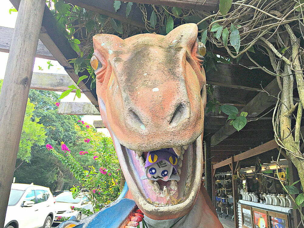 things to do in Kuranda Village in a Rainforest - dinosaur statue