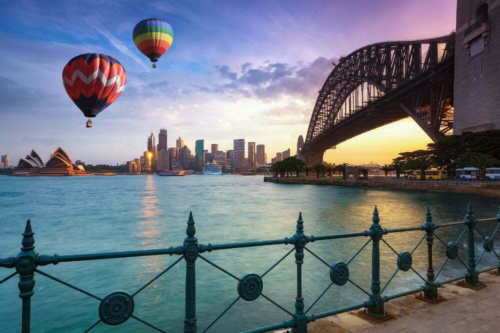 Most Beautiful Places in Australia Photos - Hot Air Balloons over Sydney Bay