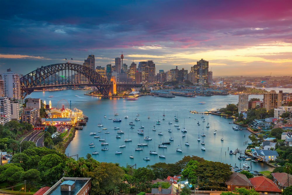 Most Beautiful Places in Australia Photos - Sydney Harbour Bay at Sunset