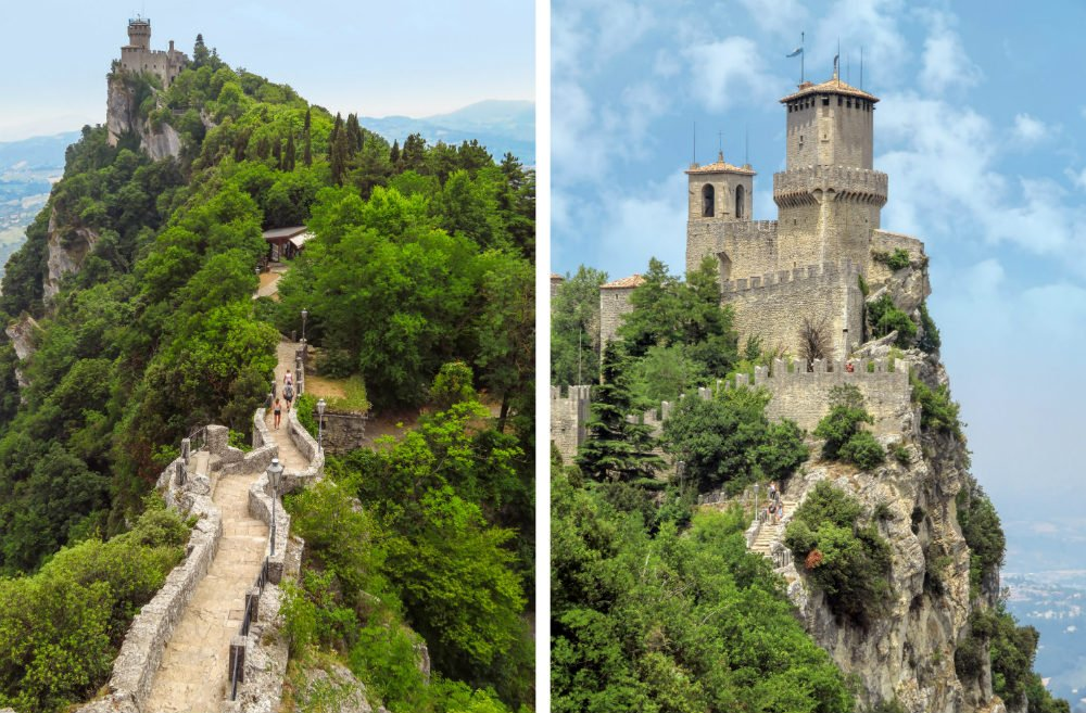 Three Towers of San Marino Cliffside Castles