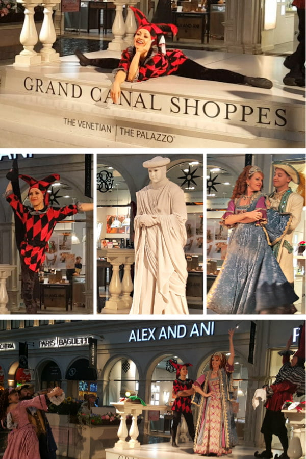Venetian Hotel Streetmosphere Free Shows in Las Vegas including Living Statues and Carnivale de Venezia