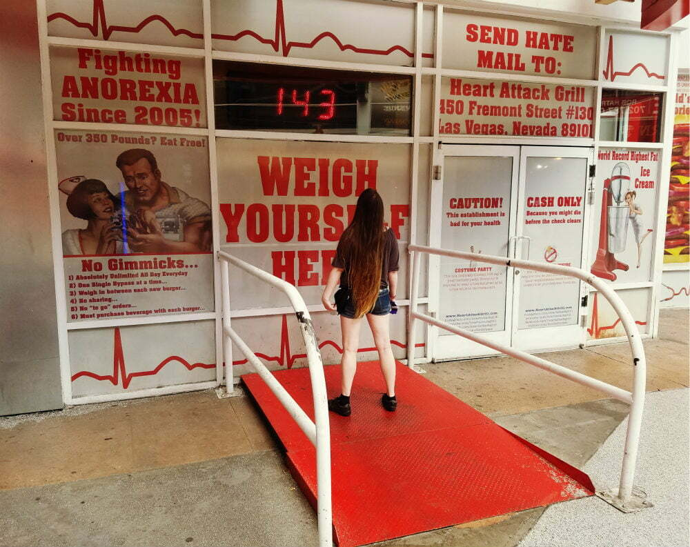 100 Free Things to do in Las Vegas - World's Largest Scale for Humans at Heart Attack Grill