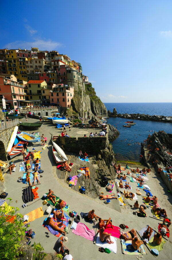 Manarola Harbour Beach Sunbathing | Cinque Terre Beach Activities