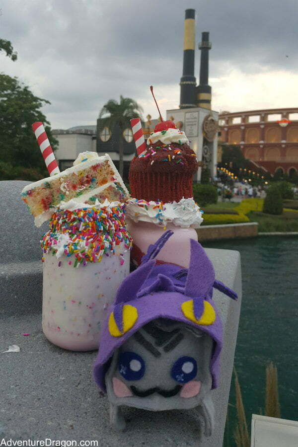 Confetti and Red Velvet Shakes at Toothsome Chocolate Emporium - Best Universal CityWalk Orlando Restaurants