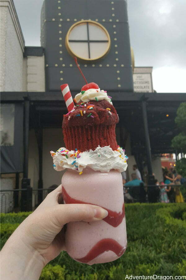 Red Velvet Milkshake at Toothsome Chocolate Emporium Restaurant in CityWalk Universal Orlando