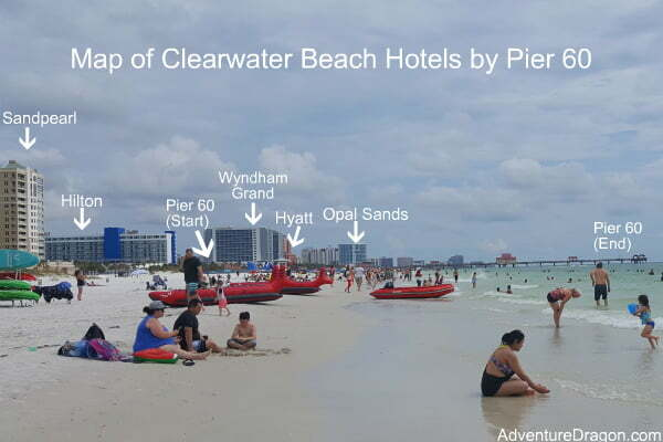 Map of Clearwater Beach Hotels Near Pier 60