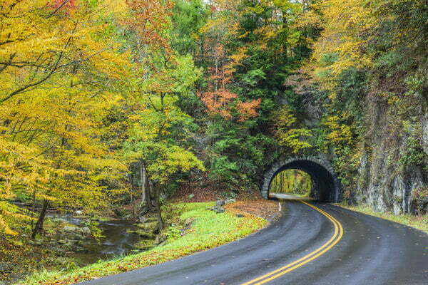 A Smoky Mountain Tunnel during Fall in Tennessee - Road Trip Itinerary